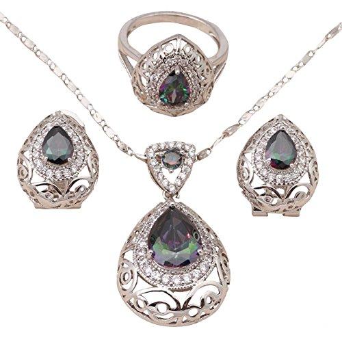 Bling fashion ciondoli Pendientes Mystic Argento Filled fine Fashion Jewelry Set collana e orecchini misura anello 66,57,58,5js566