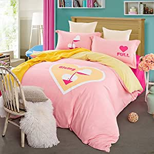 ttmall twin full queen size 100 cotton pink light yellow printed fitted sheet sets. Black Bedroom Furniture Sets. Home Design Ideas