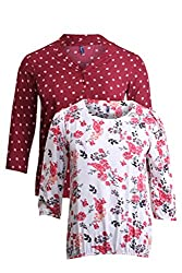 Vvoguish Pack of 2 Casual Tops VV1241MRN695OWHT-S