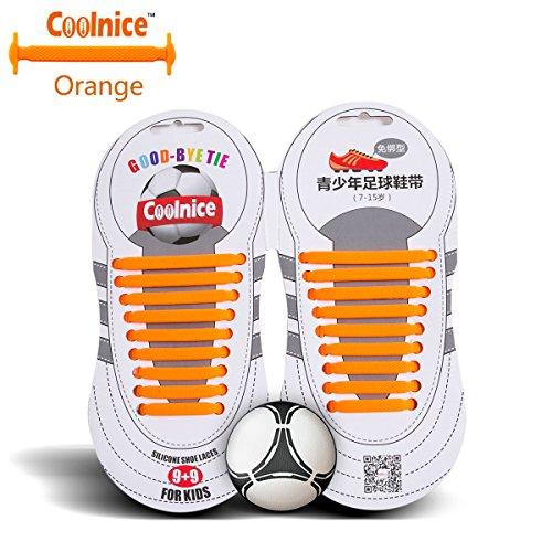 Coolnice Sport lacci elastici No Tipo Tie - forma piatta, Macchia resistente colore arancione, silicone ambientali sicuro - Teenager