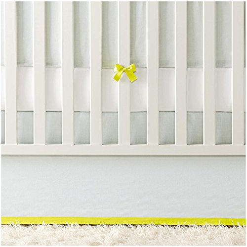 Serena & Lily Banded Linen Crib Skirt - Aqua/Citron