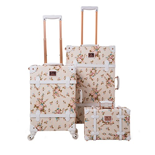 """13"""" 20"""" 26"""" Women Floral Pu Leather 3 Pieces Travel Luggage Set with Spinner Wheels 0"""