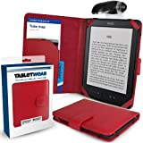 """Amazon Kindle 4 - ROUGE - Etui / Housse (SD Folio / Tablet Case / Cover / Pouch) avec Clip-On lampe de lecture LED (Clip-On LED Reading Lamp) à partir de G-HUB pour 6"""" (inch / pouce) Amazon Kindle 4 (4ème Génération / 2011 / WiFi)"""