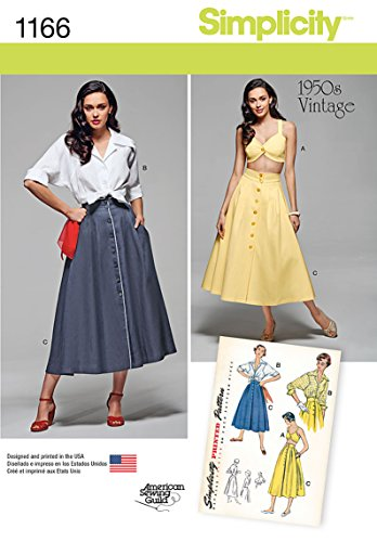 Simplicity 1950's Vintage American Sewing Guild Pattern 1166 Misses Blouse, Skirt and Bra Top, Sizes 16-18-20-22-24