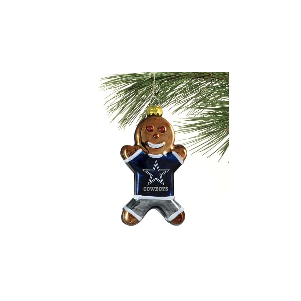 NFL Dallas Cowboys Blown Glass Gingerbread Man Ornament