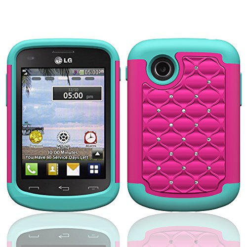 Galaxy Wireless Defender Bling Hybrid Gel Protector Case for LG 306G / 305C - Hot Pink on Teal Skin (Lg Tracfone Cases compare prices)