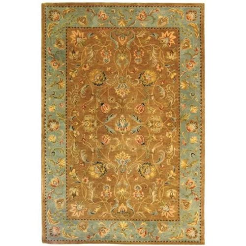 Bergama Collection Gold and Blue Floral Hand Tufted Wool Area Rug 2.30 x 10.00.