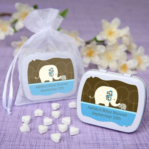 blue baby elephant personalized baby shower mint tin favors