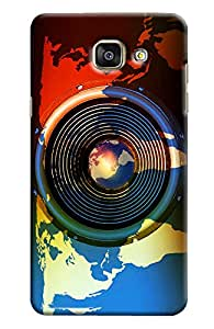 Blue Throat World Map With Lens Effect Hard Plastic Printed Back Cover/Case For Samsung Galaxy A7 2016