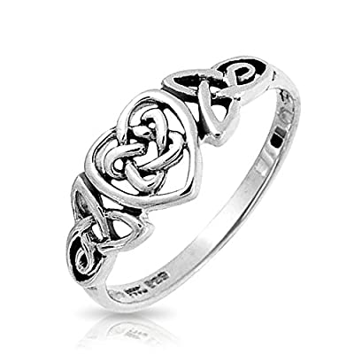 Bling Jewelry Sterling Silver Irish Celtic Knots Heart Promise Ring