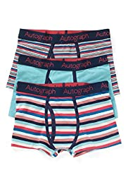 3 Pack Autograph Cotton Rich Striped Trunks