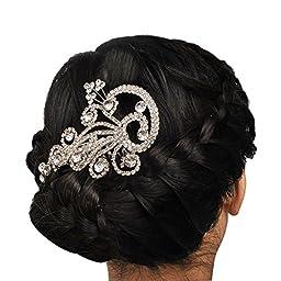 Jane Stone White Bling Bling Crystal Hair Accessories Statement Headwear Flower Wedding Bridal Jewelry (H0023)