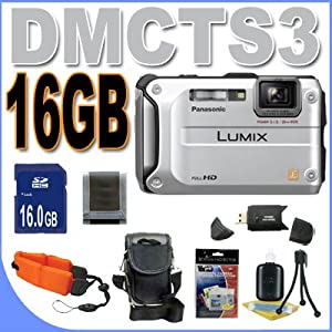 Panasonic Lumix DMC-TS3 DMC-TS3S 12.1 MP Rugged/Waterproof Digital Camera (Silver) BigVALUEInc Accessory Saver 16GB HD Bundle