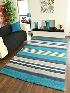 Havana 917 Teal Blue, Navy, Cream and Grey Stripe Rugs 5 Sizes Available by The Rug House