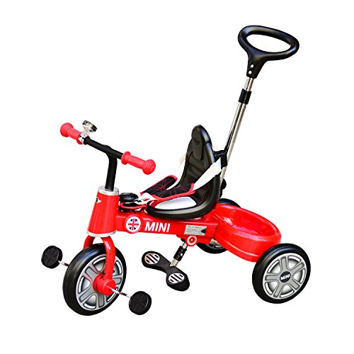 New Aosom BMW Mini Toddler Tricycle with Push Handle - Red