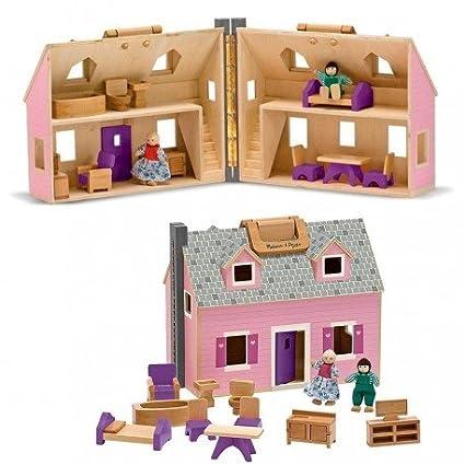Melissa and doug - Jouet Maison de poupées en bois à transporter 14 pièces en bois 3 ans +
