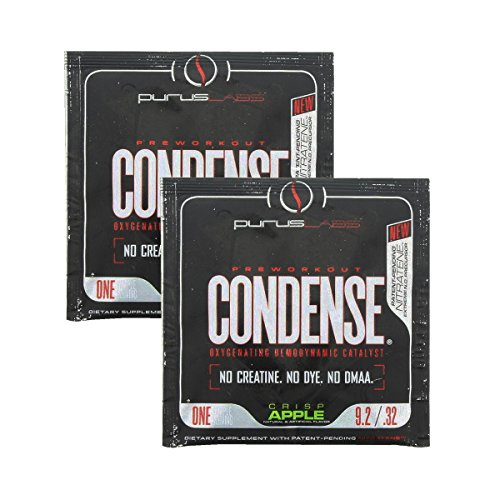 Condense By Purus Labs, Sample Pack - Extreme Vasodilation Pre-Workout Powder (2 Sample Packets) (Crisp Apple)