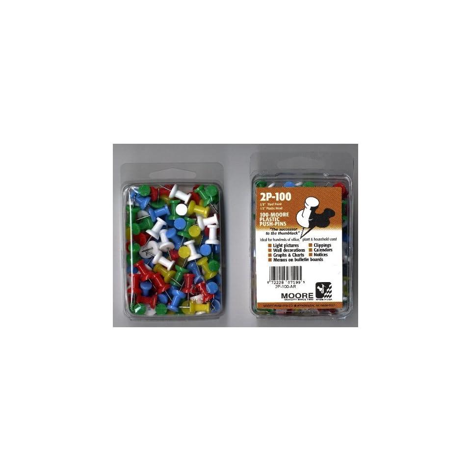 Moore Push Pins assorted regular plastic box of 100 Arts