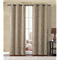 2-Pack: Stanton Hotel Quality Energy Saving Heavy-Duty Thermal Woven Grommet Curtain Panels By GoodGram® - Assorted Colors (Gold/Taupe)
