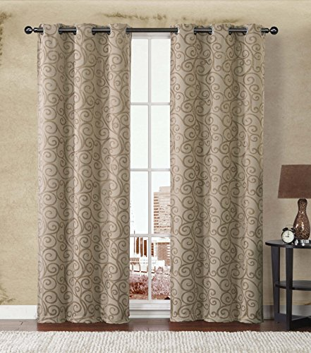 2-Pack: Stanton Hotel Quality Energy Saving Heavy-Duty Thermal Woven Grommet Curtain Panels By GoodGram® - Assorted Colors (Gold/Taupe) (Energy Saving Curtains compare prices)