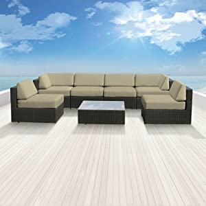 Luxxella Patio Bella Genuine Outdoor Wicker Furniture 7-Piece Gorgeous Couch Sectional Sofa Set, Light Beige
