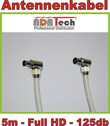 5m Antennenkabel/TV Kabel Premium-Line 125db - 5fach geschirmt - Full HD und 3D