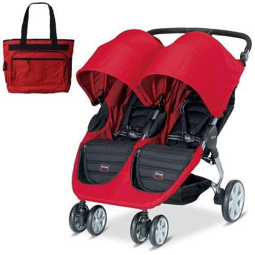 britax b agile double in red with diaper bag all travel bag. Black Bedroom Furniture Sets. Home Design Ideas
