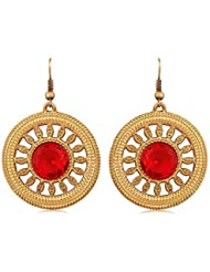 INAYA Alloy Crystal And Yellow Gold Plated Earring Set With Glden & Red Chaton Stone, 1 Pair