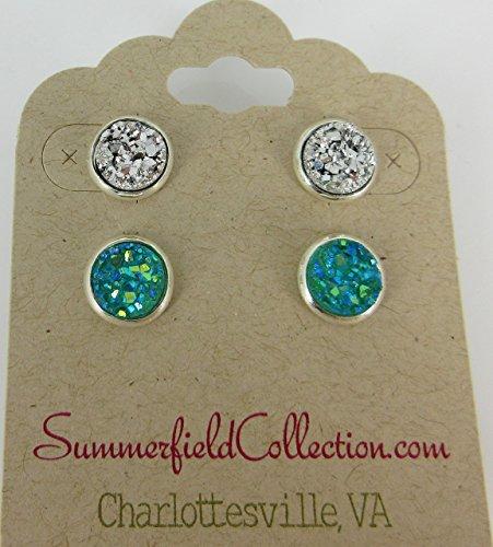 duo-silver-tone-stud-earrings-8mm-sea-aqua-faux-druzy-stone
