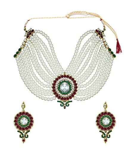 Zaveri Pearls Non-Precious Metal Off-White Choker Necklace Set For Women's