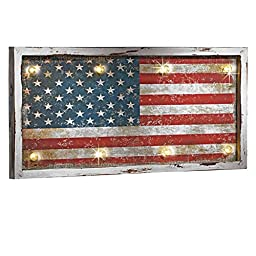 LED Lighted Rustic American Flag Wall Art