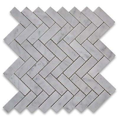 Carrara White Italian Carrera Marble Herringbone Mosaic Tile 1 x 3 Polished by Stone Center Online