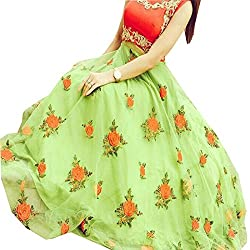 Green Georgette Embroidered Lehenga