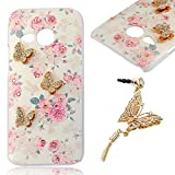 YOKIRIN HTC One Mini 2 (M8 Mini) Bling PC Hard Case Cover Protector Case Cover Phone Case Cell Phone Shell Shell Back Cover Back Flowers & Gold Butterfly & White Rhinestone + 1 x Butterfly Dust plug