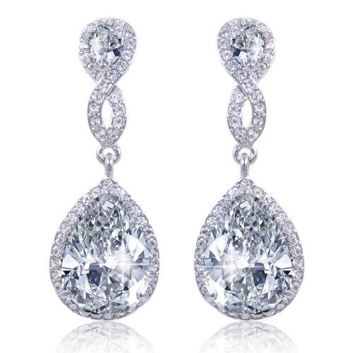 EVER FAITH® Zircon Austrian Crystal Wedding 8-Shape Pierced Earrings Silver-Tone