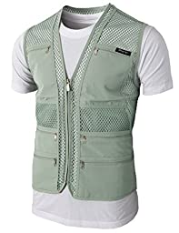 H2H Mens Casual Work Utility Hunting Travels Sports Mesh Vest With Pockets KHAKI US M/Asia L (KMOV086)