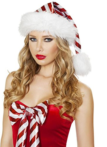 Sexy IG Selfie Candy Cane Stripped Red Christmas Hat - One Size - Red/White
