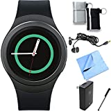 Samsung Gear S2 Smartwatch for Android Phones (Dark Gray) Essentials Bundle includes Gear S2 Smartwatch, Ear Buds, Stylus, Pouch 2-Pack, Wall Charger and Microfiber Cloth
