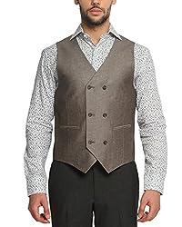 Suitltd Men's Slim Fit Waistcoat (VT0001_Brown_X-Small)