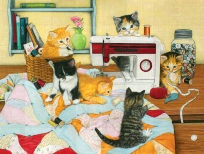 Cheap SunsOut Quilting for Kittens 500pc Jigsaw Puzzle by Julie Bauknecht (B003XO1Y32)