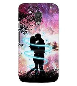 ColourCraft Loving Couple Design Back Case Cover for MOTOROLA MOTO G2