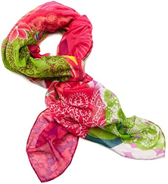 Desigual - floreada - foulard - imprimé - femme - rouge (fresa) - taille unique