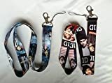 2 Two - One Direction 1D - Lanyard Key Chain Holder Set