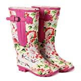 Extra Wide Calf Womens Rubber Rain Boots - Up to 20 Inch Calf - Pink Floral Design