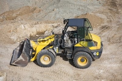 "Wallmonkeys Peel and Stick Wall Decals - Small Wheel Loader - 24""W x 16""H Removable Graphic"