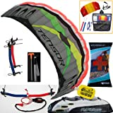 Prism Tensor 5.0 Power Foil Kite (Silver) 3-Line Control Bar Traction Trainer Bundle:... by Prism, HQ, WindBone
