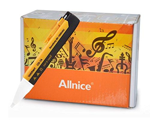 Allnice® Non-Contact Led Light 1Ac-D 90V-1000V Ac Voltage Pen Alert Detector Tester (Yellow)