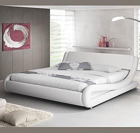 Muebles Bonitos - Cama de matrimonio de diseño Alessia en color blanco 135 x 190 cm