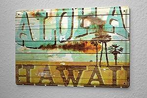 m a allen retro tin sign u s deco aloha hawaii surfing island 20x30 cm large