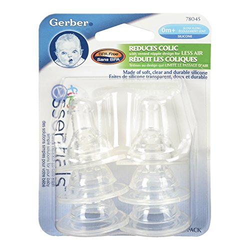 Gerber First Essential 6 Pack Silicone Nipples, Slow Flow - 1